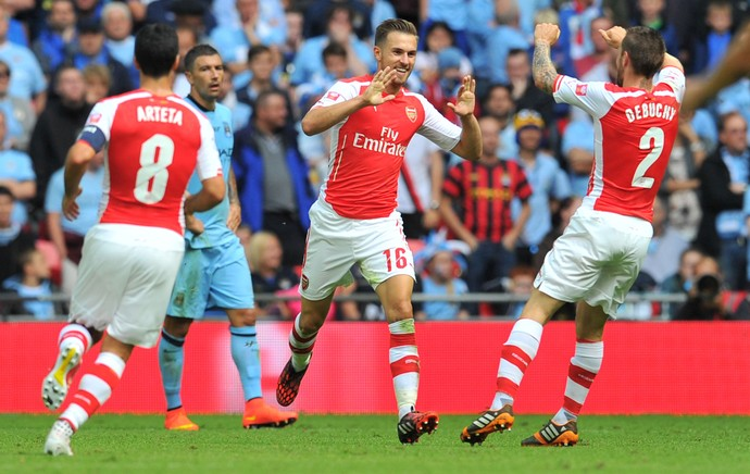 Aaron Ramsey gol Arsenal x Manchester City (Foto: AFP)