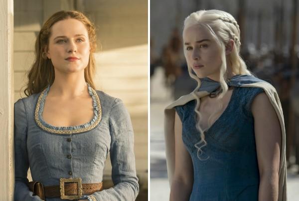 Evan Rachel Wood em 'Westworld' e Emilia Clarke em 'Game of Thrones' (Foto: Reprodução)