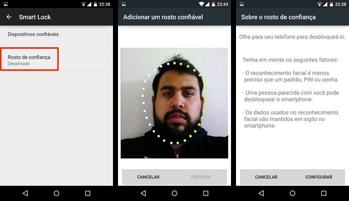 Configure seu rosto para reconhecimento facial (Foto: Reprodução/Paulo Alves)