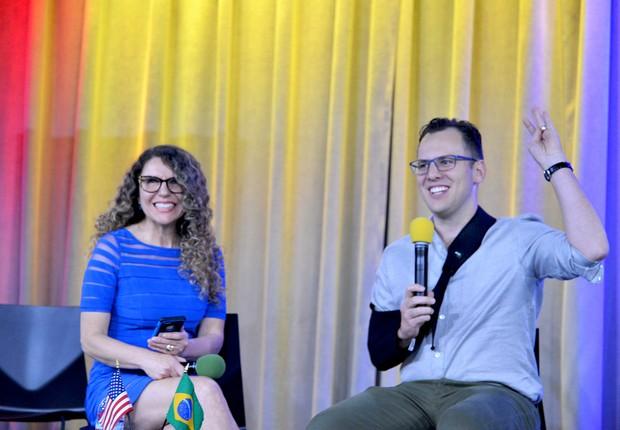 Margarise Correa, fundadora da BayBrazil, e Mike Krieger, cofundador do Instagram, no último (Foto: Divulgação)