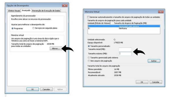 Aumento manual de memória virtual do PC (Foto: Reprodução/Raquel Freire)