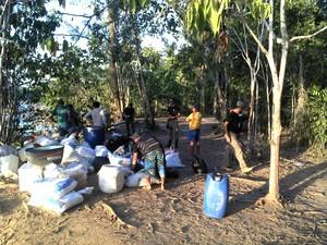 Material apreendido durante ação conjunta de repressão ao garimpo na ESEC Macará (Foto: Jeferson Silva)