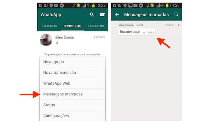 Selecionando uma mensagem marcada com estrela no WhatsApp para Android (Foto: Reprodução/Marvin Costa)