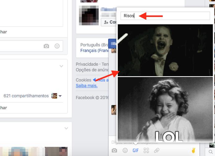 Buscando e enviando uma GIF pelo bate papo do Facebook (Foto: Reprodução/Marvin Costa)