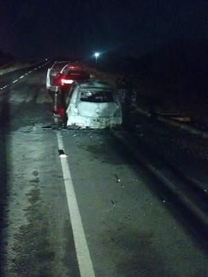 Em Natal, PM teve o carro incendiado após ser assaltado (Foto: PM/Divulgação)