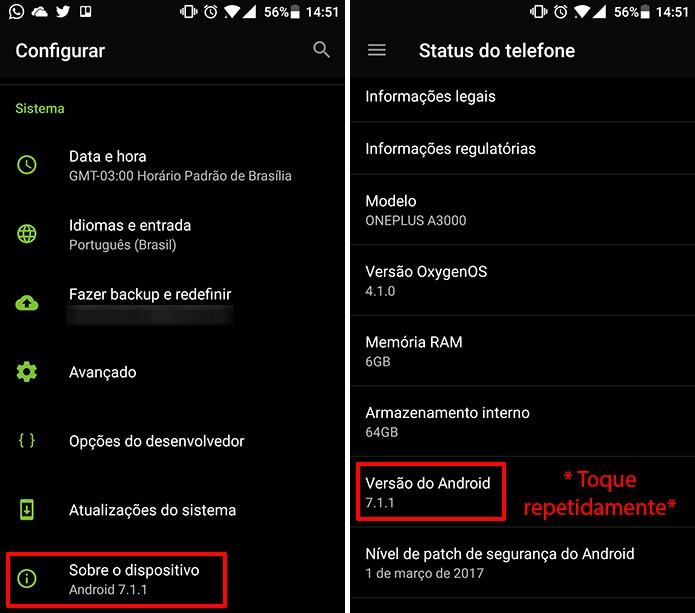 Acesse a versão do Android nas configurações do sistema (Foto: Reprodução/Elson de Souza)