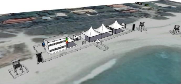 Imagem mostra a estrutura que está sendo montada na Barrinha (Foto: Reprodução WSL)