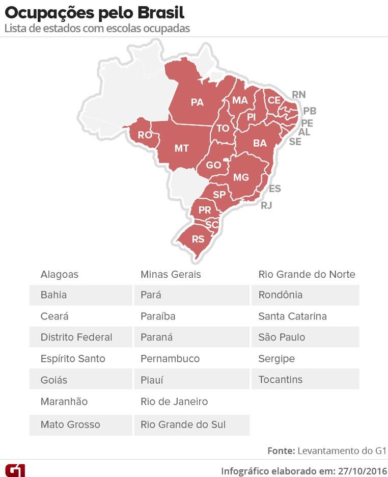 Ocupações pelo Brasil (Foto: Arte G1)