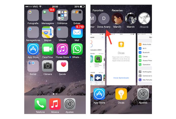 Acessando os contatos favoritos no iOS 8 (Foto: Reprodução/Marvin Costa)