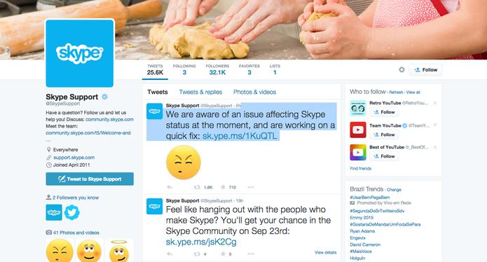 Twitter do Skype (@SkypeSupport) dá panorama do bug que tirou sistema e autenticação do ar  (Foto: Reprodução/Twitter)