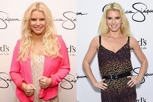 A cantora Jessica Simpson emagreceu bastante desde a sua última gravidez. À esquerda, uma foto da estrela em 2012, à direita, a cantora em evento ocorrido em outubro de 2014. (Foto: Getty Images)