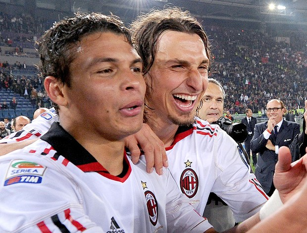 Thiago Silva e Ibrahimovic no Milan (Foto: Getty Images)