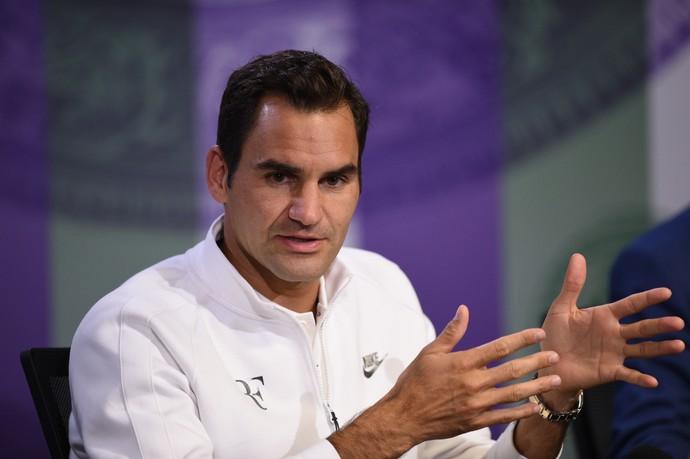 Federer em coletiva no torneio de Wimbledon (Foto: Florian EISELE / POOL/AELTC / AFP)