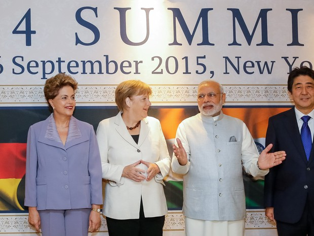 A presidente Dilma Rousseff posou para foto oficial ao lado dos líderes da Alemanha, Índia e Japão (Foto: Roberto Stuckert Filho/PR)