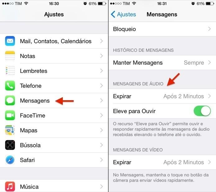 Abra as configurações de mensagens do iOS 8 (Foto: Reprodução/Helito Bijora)