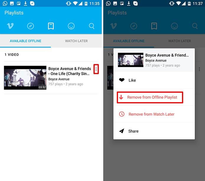 Vimeo para Android pode ter vídeos offlines removidos para limpar memória do celular (Foto: Reprodução/Elson de Souza)