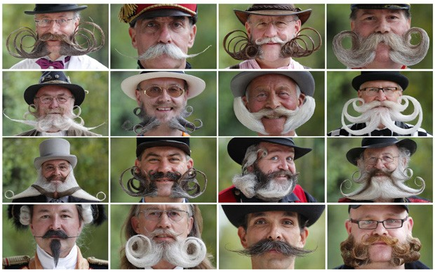 Participantes do European Beard and Moustache Championships, realizado em Mulhouse, na França.  (Foto:  in Wittersdorf near Mulhouse, Eastern France, September 22, 2012. )