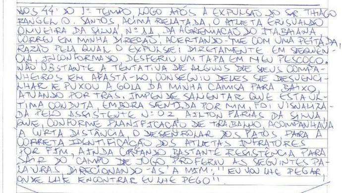 Árbitro relata indisciplina de Da Silva (Foto: Reprodução/FSF)