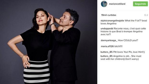 Instagram de Marion Cottillard é alvo de ataques após separação de Brad Pitt e Angelina Jolie (Foto: Reprodução/Instagram)