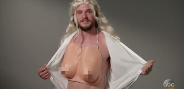 Kit Harington tem uma noite de Daenerys Targaryen na TV (Foto: reprodução )