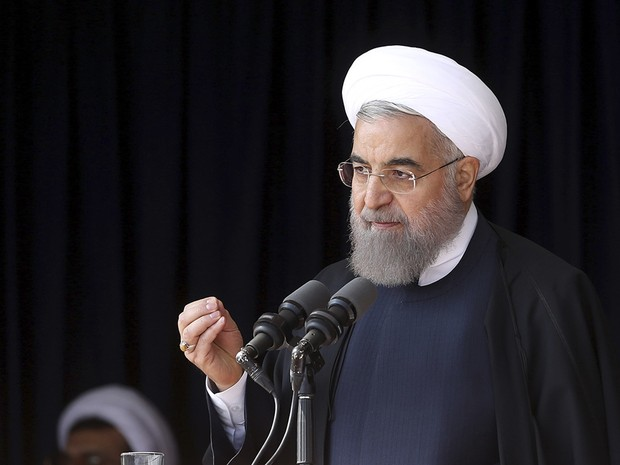 Hassan Rouhani discursou em visita a Arak (Foto: Iranian Presidency Office via AP)