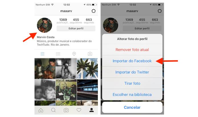 Importando a foto de perfil do Facebook para o Instagram (Foto: Reprodução/Marvin Costa)
