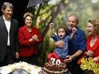 Dilma participa da comemoração dos 70 anos de Lula em São Paulo