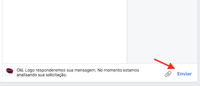 Opção para usar uma resposta automática criada em uma página do Facebook (Foto: Reprodução/Marvin Costa)