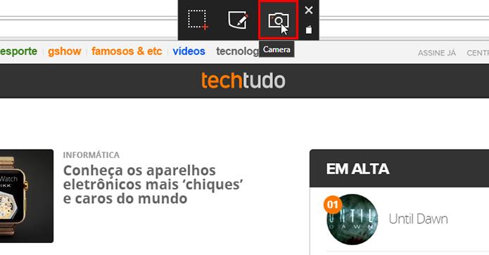 Acesse a ferramenta de captura da webcam (Foto: Reprodução/Paulo Alves)