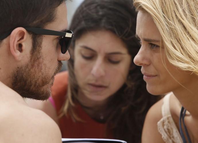 Concentração total na hora de gravar como Dante e Lara (Foto: Raphael Dias / Gshow)