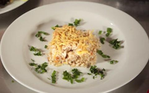 Arroz de forno light com três queijos
