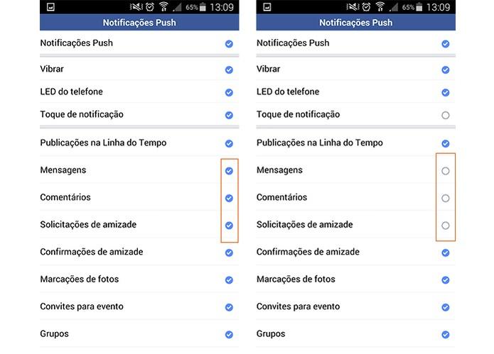 Desmarque os itens para não receber notificações no Facebook Lite pelo celular (Foto: Reprodução/Barbara Mannara)
