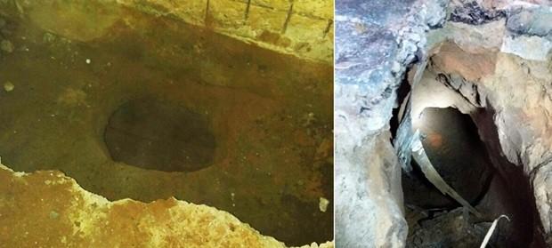 Túnel foi escavado a partir de uma cela do pavilhão A; no meio da rua, calcamento de paralelepípedos cedeu  (Foto: Sejuc/Divulgação)