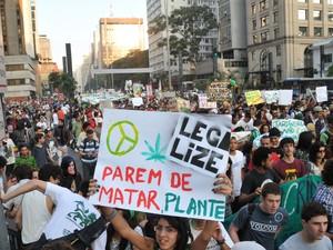 Jovens participam da Marcha da Maconha, que reivindica descriminalização da droga  (Foto: J. Duran Machfee/ Estadão Conteúdo)