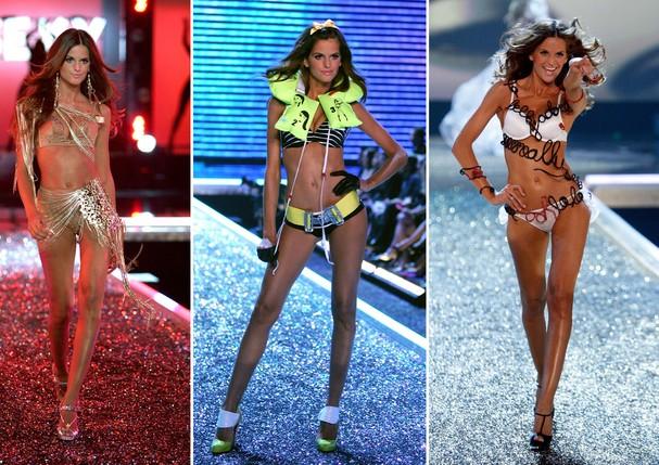 Izabel Goulart na passarela da Victoria's Secret, nos desfiles de 2006 e 2007 (Foto: Getty Images)