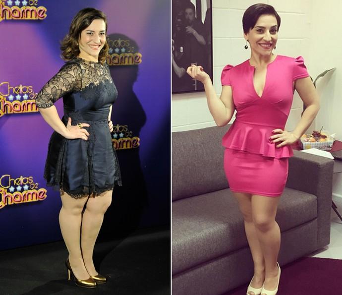 A atriz em 'Cheias de Charme' e nos dias de hoje (Foto: TV Globo / Arquivo pessoal)