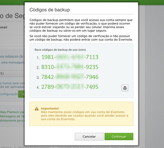 Guarde em local seguro os códigos de backup (Foto: Reprodução/Helito Bijora)