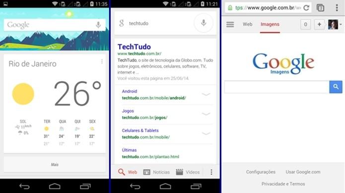 App de pesquisa do Google e versão mobile do buscador (Foto: Reprodução/Raquel Freire)