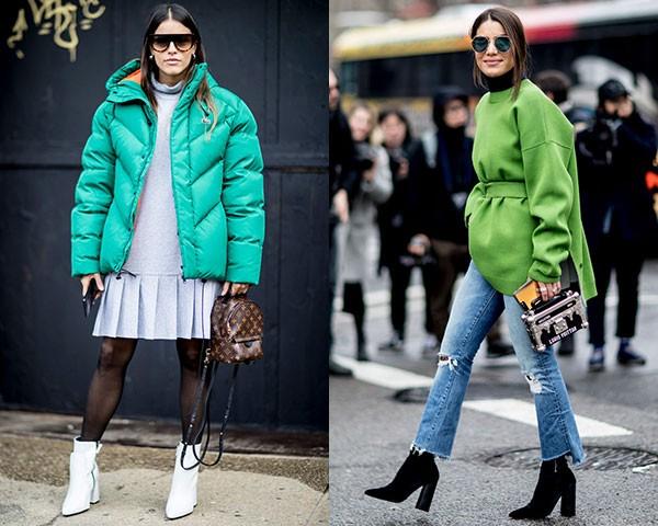 Os casacos verdes apareceram com frequência (Foto: Imaxtree)