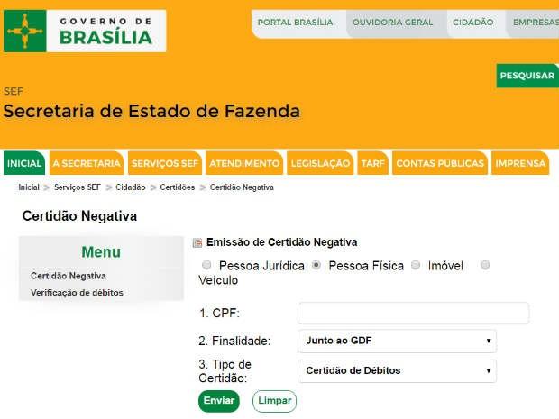 Certidão negativa de débitos pode ser emitida no site da Secretaria de Fazenda (Foto: GDF/Reprodução)