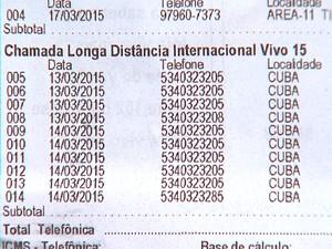 A conta de Luzia aparece com dez ligações feitas para Cuba nos dia 13 e 14 de março (Foto: Reprodução/ EPTV)