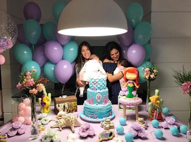 Yanna Lavigne, Bruno Gissoni e Felipe Simas festejam mêsversário das filhas com amigos