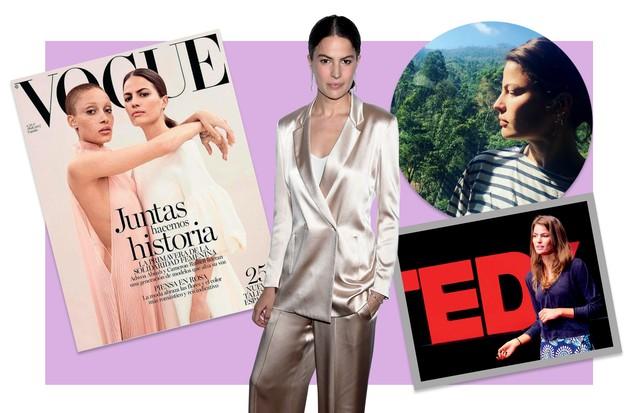 À esquerda, na capa da Vogue Espanha de abril (ao lado de Adwoa). À direita, no Sri Lanka (onde esteve para promover a Rainforest Alliance). Abaixo, em seu TED Talk (Foto: Divulgação)