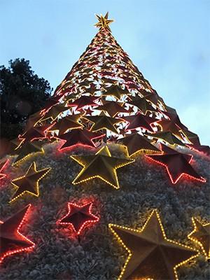 Árvore mais alta da decoração de Natal de Guararema tem 22 metros de altura (Foto: Jamile Santana/G1)