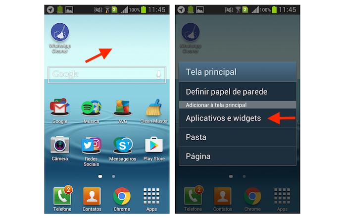 Acessando a página de aplicativos e widgets do Galaxy Gran Duos (Foto: Reprodução/Marvin Costa)