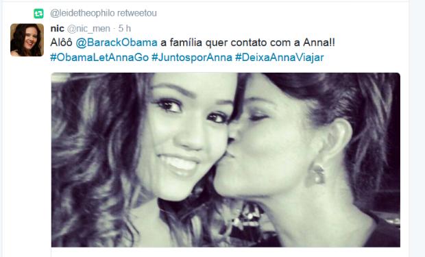 Niceia Menegon pede para que mãe tenha pelo menos contato com a filha detida nos EUA (Foto: Teprodução/Twitter)