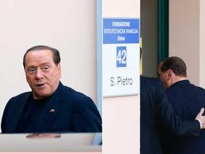 O ex-primeiro-ministro da Itália, Silvio Berlusconi, chega ao Instituto Sagrada Família para tratar de pessoas com Alzheimer.começa   (Foto: Stefano Rellandini / Reuters)