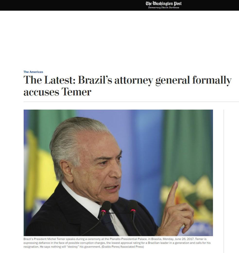 Jornal 'Washington Post' noticia denúncia de Janot contra Temer (Foto: Reprodução/ Washington Post)
