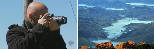 À esq., fotógrafo Leonardo Bueno e à direita, foto do vale visto do alto do Pico da Bandeira (Foto: Montagem Reprodução EPTV / Leonardo Bueno)