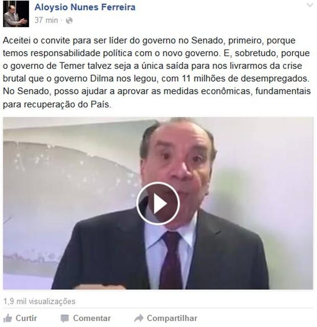 Aloysio Nunes publicou vídeo no Facebook em que comenta convite para liderança do governo (Foto: Reprodução/Facebook)